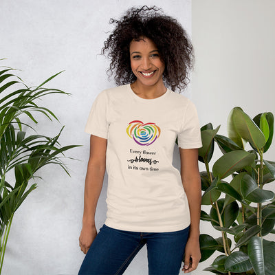 """Every Flower Blooms"" Short-Sleeve Unisex T-Shirt Soft Cream / S - Equally Younique LGBTQ Shop"