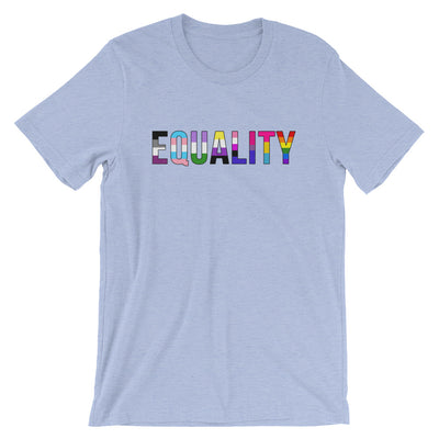 """Equality"" Short-Sleeve Unisex T-Shirt with Tear Away Label Heather Blue / S - Equally Younique LGBTQ Shop"