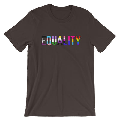 """Equality"" Short-Sleeve Unisex T-Shirt with Tear Away Label Brown / S - Equally Younique LGBTQ Shop"