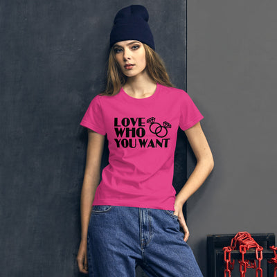 """Love Who You Want"" T-Shirt Hot Pink / S - Equally Younique LGBTQ Shop"