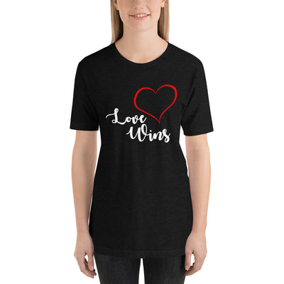 """Love Wins"" Short-Sleeve Unisex T-Shirt Dark Grey Heather / XS - Equally Younique LGBTQ Shop"