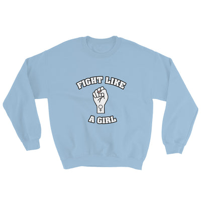 """Fight Like A Girl"" Feminist Crewneck Sweatshirt Light Blue / S - Equally Younique LGBTQ Shop"