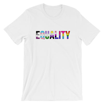 """Equality"" Short-Sleeve Unisex T-Shirt with Tear Away Label White / XS - Equally Younique LGBTQ Shop"