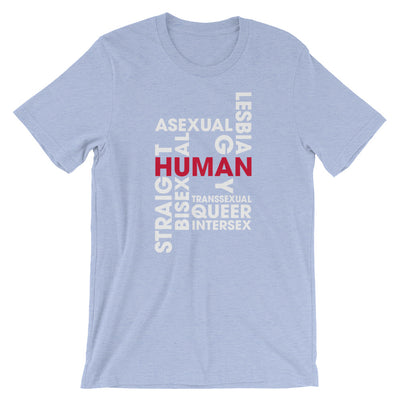 """Human"" Short-Sleeve Unisex T-Shirt Heather Blue / S - Equally Younique LGBTQ Shop"