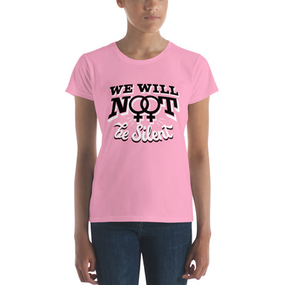"""We Will NOT Be Silent"" Women's short sleeve t-shirt CharityPink / S - Equally Younique LGBTQ Shop"