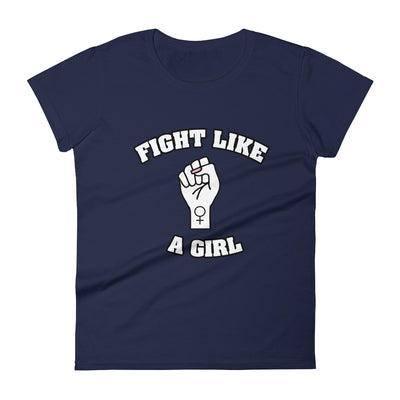"""Fight Like A Girl"" Feminist T-Shirt with Tear Away Label Navy / S - Equally Younique LGBTQ Shop"