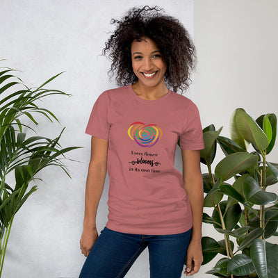 """Every Flower Blooms"" Short-Sleeve Unisex T-Shirt Mauve / S - Equally Younique LGBTQ Shop"