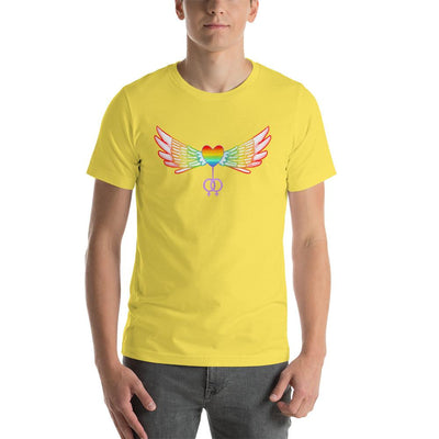 """Gay Pride Heart With Wings"" Short-Sleeve T-Shirt Yellow / S - Equally Younique LGBTQ Shop"