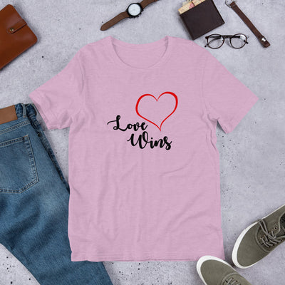 """Love Wins"" Short-Sleeve Unisex T-Shirt Heather Prism Lilac / XS - Equally Younique LGBTQ Shop"
