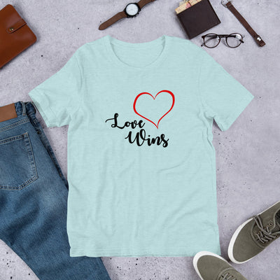"""Love Wins"" Short-Sleeve Unisex T-Shirt Heather Prism Ice Blue / XS - Equally Younique LGBTQ Shop"