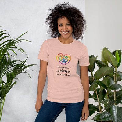 """Every Flower Blooms"" Short-Sleeve Unisex T-Shirt Heather Prism Peach / XS - Equally Younique LGBTQ Shop"