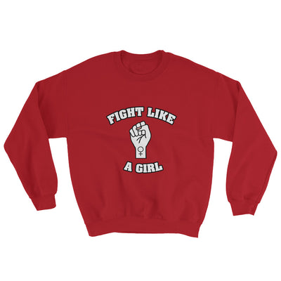 """Fight Like A Girl"" Feminist Crewneck Sweatshirt Red / S - Equally Younique LGBTQ Shop"