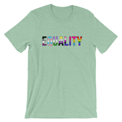 """Equality"" Short-Sleeve Unisex T-Shirt with Tear Away Label Heather Prism Mint / XS - Equally Younique LGBTQ Shop"
