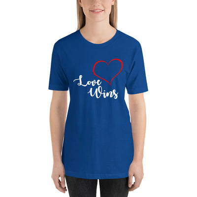 """Love Wins"" Short-Sleeve Unisex T-Shirt True Royal / S - Equally Younique LGBTQ Shop"