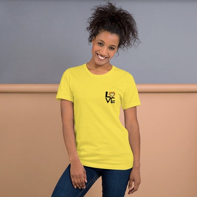 "LGBT ""Love"" Short-Sleeve Unisex T-Shirt Yellow / S - Equally Younique LGBTQ Shop"