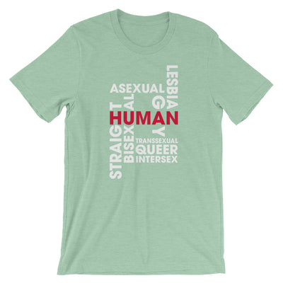 """Human"" Short-Sleeve Unisex T-Shirt Heather Prism Mint / XS - Equally Younique LGBTQ Shop"
