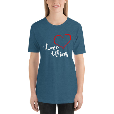 """Love Wins"" Short-Sleeve Unisex T-Shirt Heather Deep Teal / S - Equally Younique LGBTQ Shop"