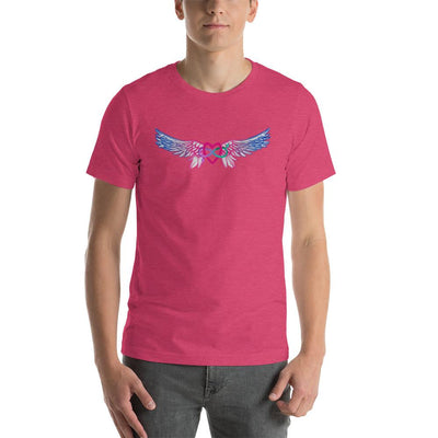 """Equality With Wings"" Short-Sleeve Unisex T-Shirt Heather Raspberry / S - Equally Younique LGBTQ Shop"