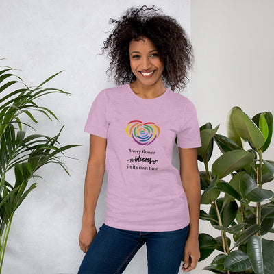 """Every Flower Blooms"" Short-Sleeve Unisex T-Shirt Heather Prism Lilac / XS - Equally Younique LGBTQ Shop"