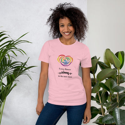 """Every Flower Blooms"" Short-Sleeve Unisex T-Shirt Pink / S - Equally Younique LGBTQ Shop"