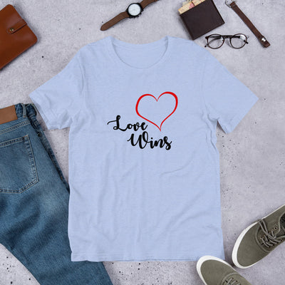 """Love Wins"" Short-Sleeve Unisex T-Shirt Heather Blue / S - Equally Younique LGBTQ Shop"