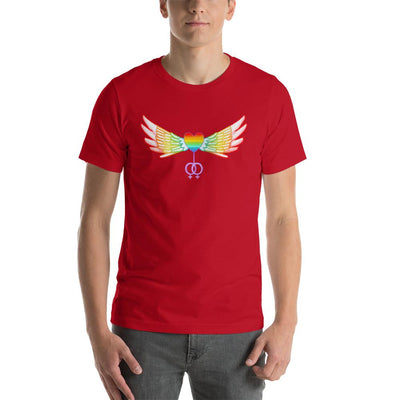 """Gay Pride Heart With Wings"" Short-Sleeve T-Shirt Red / S - Equally Younique LGBTQ Shop"
