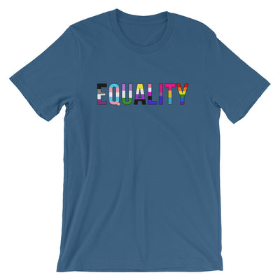 """Equality"" Short-Sleeve Unisex T-Shirt with Tear Away Label Steel Blue / S - Equally Younique LGBTQ Shop"