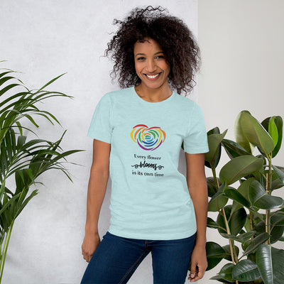 """Every Flower Blooms"" Short-Sleeve Unisex T-Shirt Heather Prism Ice Blue / XS - Equally Younique LGBTQ Shop"