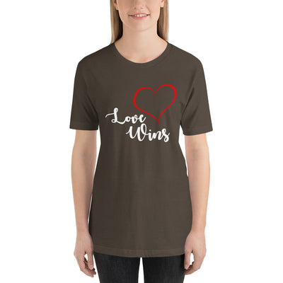 """Love Wins"" Short-Sleeve Unisex T-Shirt Army / S - Equally Younique LGBTQ Shop"