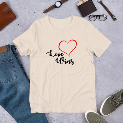"""Love Wins"" Short-Sleeve Unisex T-Shirt Soft Cream / S - Equally Younique LGBTQ Shop"