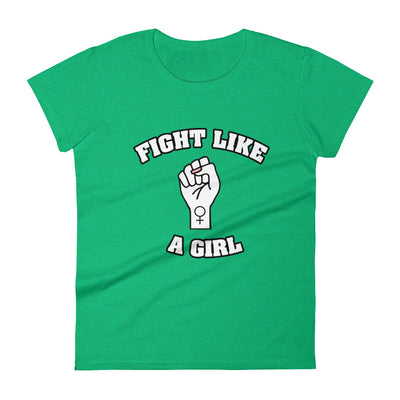 """Fight Like A Girl"" Feminist T-Shirt with Tear Away Label Heather Green / S - Equally Younique LGBTQ Shop"