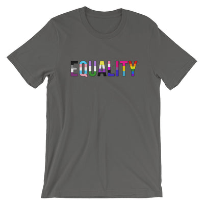 """Equality"" Short-Sleeve Unisex T-Shirt with Tear Away Label Asphalt / S - Equally Younique LGBTQ Shop"