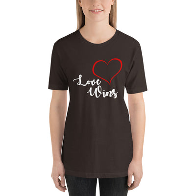 """Love Wins"" Short-Sleeve Unisex T-Shirt Brown / S - Equally Younique LGBTQ Shop"