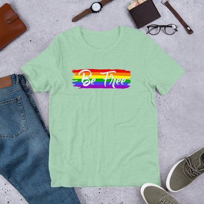 """Be Free"" T-Shirt with Tear Away Label Heather Prism Mint / XS - Equally Younique LGBTQ Shop"