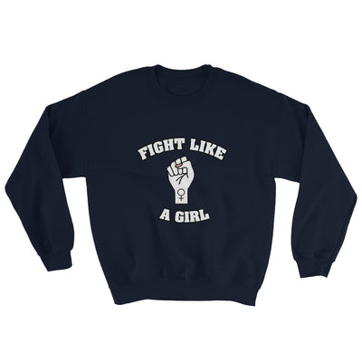 """Fight Like A Girl"" Feminist Crewneck Sweatshirt Navy / S - Equally Younique LGBTQ Shop"