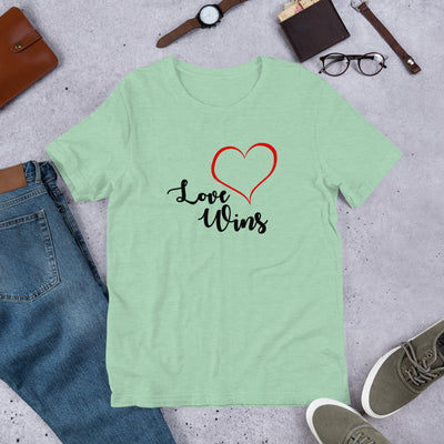 """Love Wins"" Short-Sleeve Unisex T-Shirt Heather Prism Mint / XS - Equally Younique LGBTQ Shop"