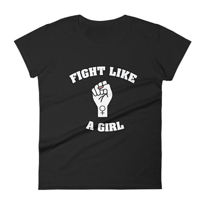 """Fight Like A Girl"" Feminist T-Shirt with Tear Away Label Black / S - Equally Younique LGBTQ Shop"