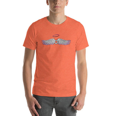 """Asexual With Wings"" Short-Sleeve Unisex T-Shirt Heather Orange / S - Equally Younique LGBTQ Shop"