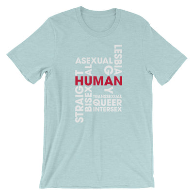 """Human"" Short-Sleeve Unisex T-Shirt Heather Prism Ice Blue / XS - Equally Younique LGBTQ Shop"