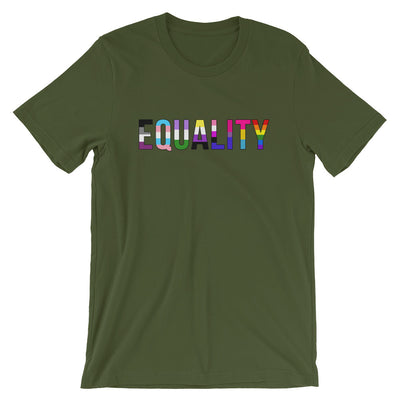 """Equality"" Short-Sleeve Unisex T-Shirt with Tear Away Label Olive / S - Equally Younique LGBTQ Shop"