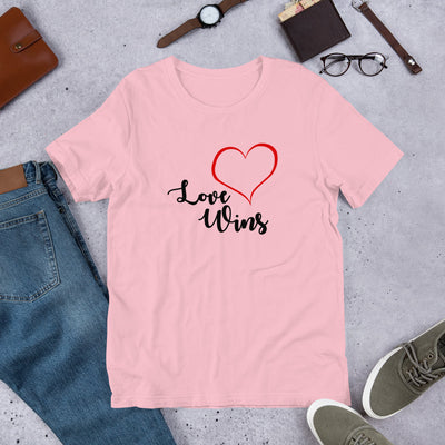 """Love Wins"" Short-Sleeve Unisex T-Shirt Pink / S - Equally Younique LGBTQ Shop"
