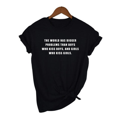 """The World Has Bigger Problems"" Short-Sleeve Unisex T-Shirt Black / Large - Equally Younique LGBTQ Shop"