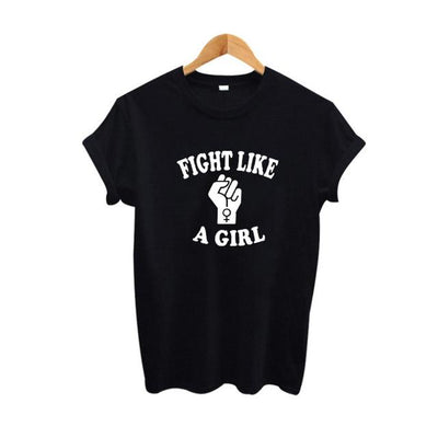 """Fight Like A Girl"" Feminist T-Shirt Black / S - Equally Younique LGBTQ Shop"