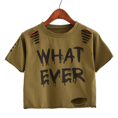 """whatever"" Crop Top  shirt Army green - Equally Younique LGBTQ Shop"