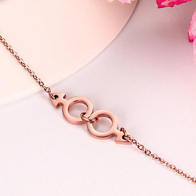 Women's Rose Gold LGBT Chain Bracelet  - Equally Younique LGBTQ Shop