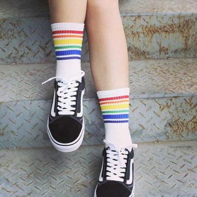 Rainbow LGBT Ankle Socks White - Equally Younique LGBTQ Shop