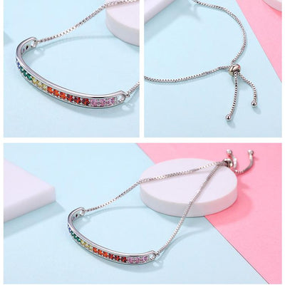 Rainbow Crystal Stamp Chain Link Bracelet  - Equally Younique LGBTQ Shop