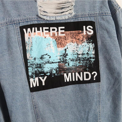 """Where Is My Mind?"" Retro Denim Bomber Jacket  - Equally Younique LGBTQ Shop"