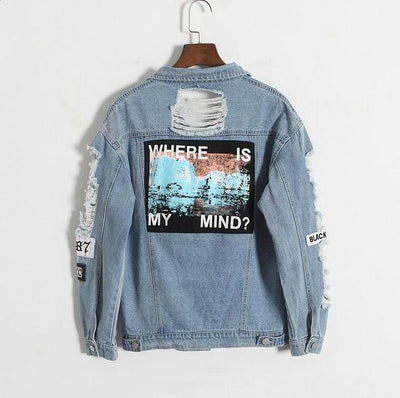 """Where Is My Mind?"" Retro Denim Bomber Jacket Blue / S - Equally Younique LGBTQ Shop"
