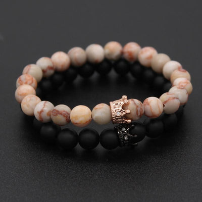 2 Piece Set - Matte and Pink Natural Stone Bracelet  - Equally Younique LGBTQ Shop